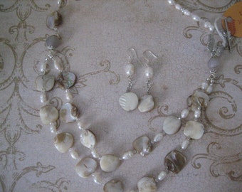 Double strand mother of pearl necklace and Earring Set