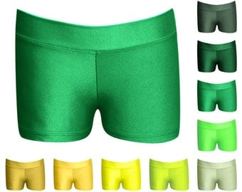 """Women's Assorted Greens and Golds Dance Shorts - Shorties by LB Wear - 1"""" Fabric Waistband, 2"""" Inseam"""