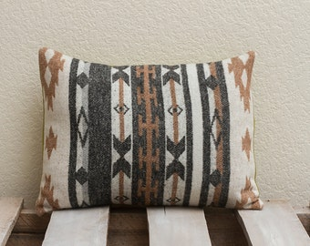 12x16 Handmade Pillow Cover (Brown Aztec w/ army green back)