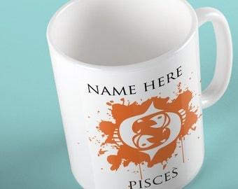 Personalised Pisces Zodiac Mug, Starsign Mug