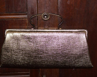 1960's vintage gold clutch handbag purse~shiny~