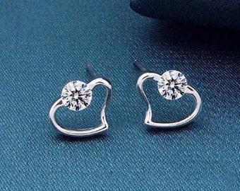 Sterling Silver Heart-Shaped Crystal Stud Earrings
