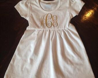 Personalized Monogram Cap Sleeve Dress Toddler/Baby