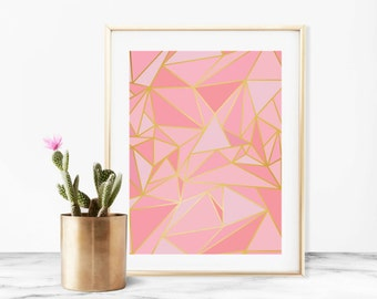 Pink Mosaic Faux Gold Art Print Poster - Instant Digital Download