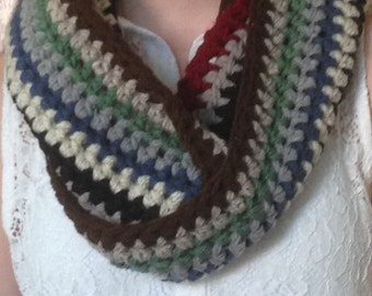 Infinity Scarf Crochet Chunky wool / yarn winter scarf multi colour