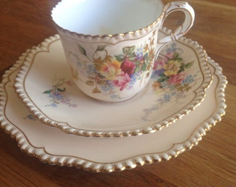 Royal Worcester trio, cup, saucer and cake plate. Made in 1896.