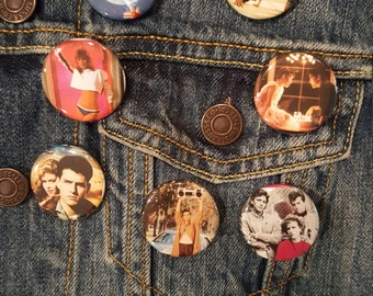 80s Movie Pins #2 Buttons, MAGNETS 1.25in,  E.T., Dirty Dancing, Weird Science, Pretty in Pink, Top Gun, Say Anything, 16 Candles