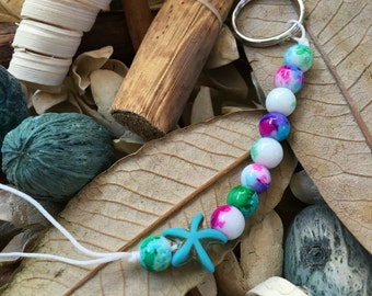 Handmade, Boho, Beach, Watercolor Beads, Turquoise Starfish Charm, White Nylon Cord, Key Chain, Key Fob, Lanyard, Purse Charm, Bag Charm