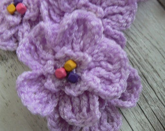 flowers mauve crochet accessories beaded