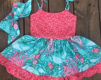 Coral sundress - sea creature dress - baby dress - toddler dress - ruffled dress - with matching headband