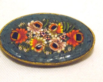 Vintage Italian Mosaic Floral Brooch Blue with Multi Colored Flowers