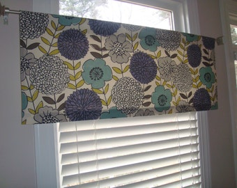 Large-scale Purple, Aqua, Citrine, Grey, Taupe, Ivory Floral Valance Window Treatment Shade Modern