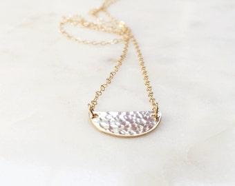 Half Moon Necklace | Half Circle Necklace | Hammered Half Moon Necklace | Hammered Necklace | 14kt Gold Filled
