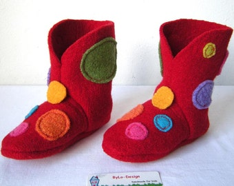 Booties, slippers, Babyshoes, slippers, baby shoes, baby shoes, baby boots in red with points