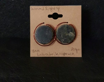 18mm Labradorite and copper wire earrings