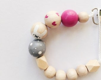 Hand-painted dummy with geometric wooden beads in grey white pink - Bunny