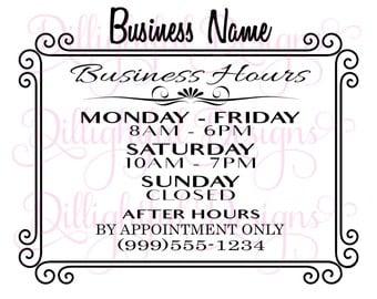 business hours sign etsy. Black Bedroom Furniture Sets. Home Design Ideas