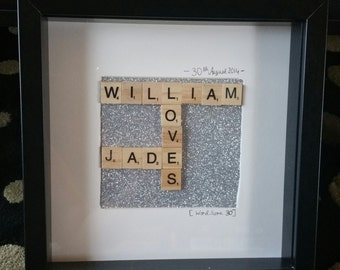 "Personalized Scrabble Romantic ""Loves"" Frame"