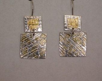 Keum-Boo Leopard Pattern Sterling Silver Dangle Earrings