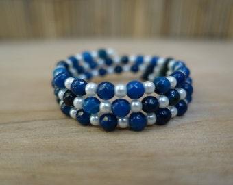 Blue crystal beaded bracelet on memory wire