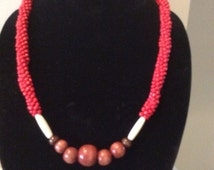Red Kumihimo Necklace