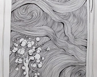 Little Snowball Tree Pen and Ink Original Limited Print