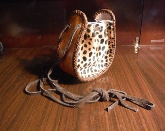 One of a kind Leather Draw String Purse Fancy The Leopard Hair On All Leather with leather Gusset