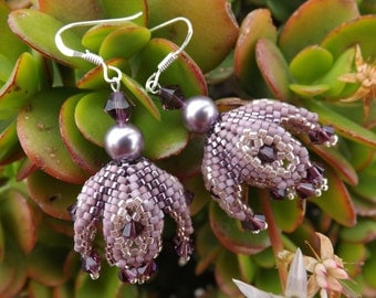 "Weaving beads earrings Swarovski pearls ""Mauve pearl"""