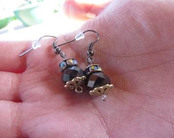 Handmade Stunning Black Crystal Earrings