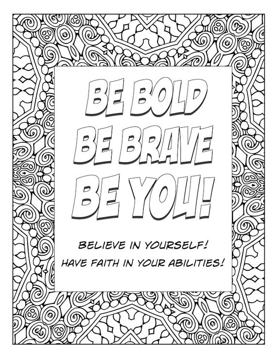 Word Art Coloring Page Typography Art Inspirational