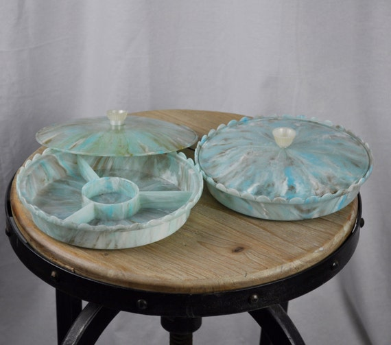 Twinco Made in England Midcentury Four Part Blue Serving or Candy Dish with Lid