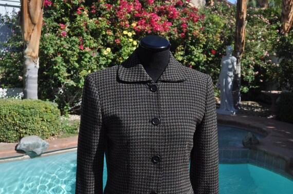 Women's Gray Ann Taylor Checkered Wool Blazer Sz 2