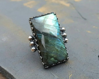 Faceted Labradorite Silver Ring