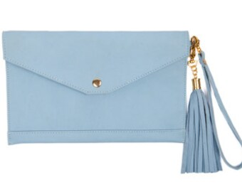 Leather wristlet pale blue