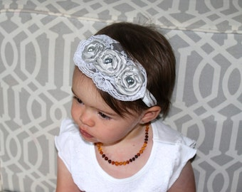 Rolled Satin Flower Baby Headband with Lace Trim