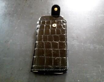 Smartphone cover Krokoprint Black patent calf leather