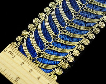 3yards Blue Gold Metallic Embroidered Lace Ribbon Trim Fabric Trimming Embellishment Motif Venise Applique Sewing