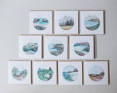 Greeting cards // set of 5 or 10 - blank - watercolour - recycled, 125mm square - with kraft envelopes