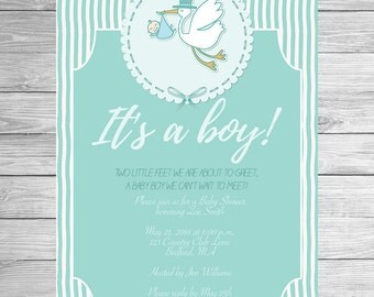 Printable Baby Shower Invitation It's a boy Invitation Customized