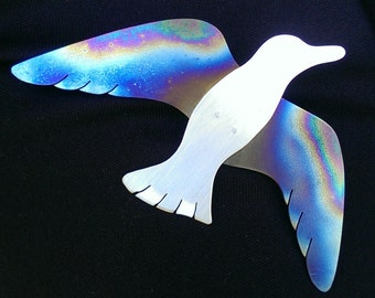 Flying Bird Brooch - Sterling Silver and Titanium