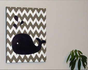 Canvas of whale and gray and white chevron