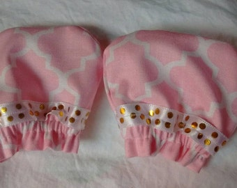 Pink & Gold NB scratch mittens