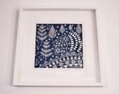 Edward Squirrel in midnight blue, linoprint, limited edition