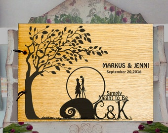 Wedding Guest Book Jack and Sally, Wedding Guest Book Rustic, jack and sally Memory Album, Anniversary Book GuestBook, Rustic Gift L2-04-006