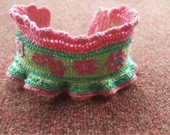 Hand made crochet beaded wrist cuff