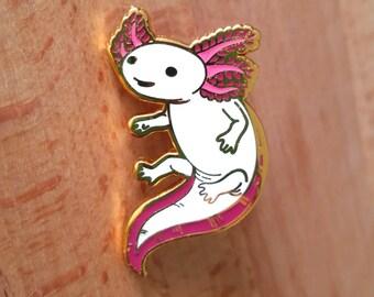 Axolotl Hard Enamel Pin - Gold, White, and Pink - Lapel Pin Cloisonné Badge
