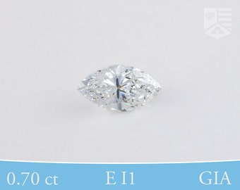 Marquise Cut, GIA Certified Diamond, Post-Consumer, E I1, 0.70 ct