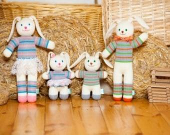 Fun rabbits family 4 pcs set of knitted dolls