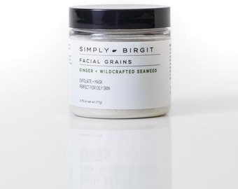 Ginger + Wildcrafted Seaweed Facial Grains - All Natural Skin Exfoliator and Mask