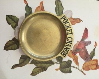 Solid brass pocket change tray